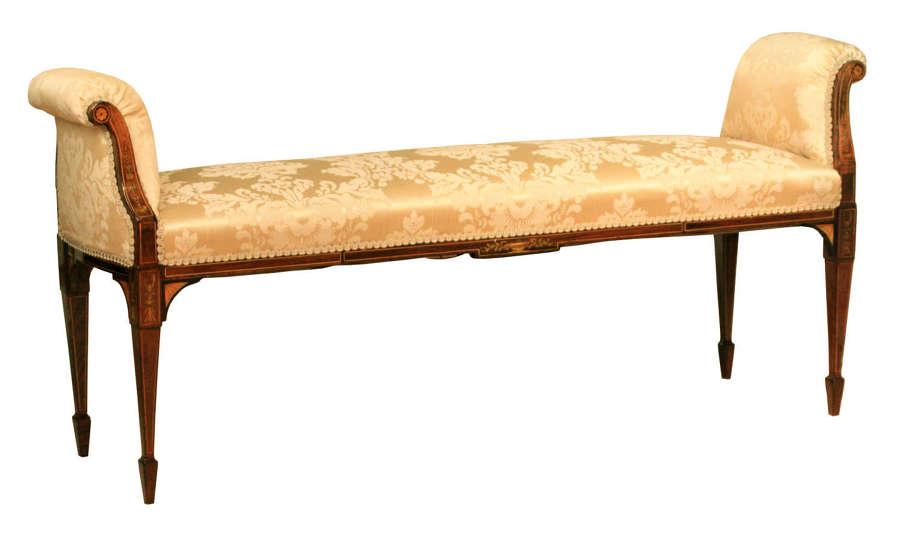 A Superb Edwardian Mahogany Inlaid Upholstered Window Seat