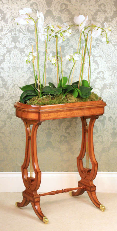 A Fine Victorian Mahogany and Satinwood Inlaid Lyre ended Jardinere