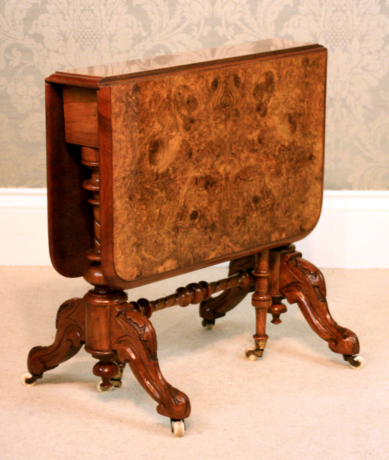 A Victorian Fine Quality Burr Walnut Inlaid Baby Sutherland Table